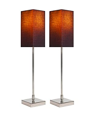 Filament Set of 2 Slim Square Table Lamps with Contrast Shade, Black/Orange