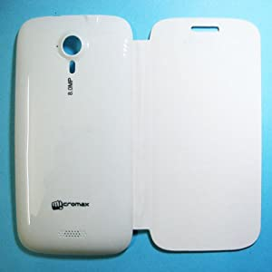 Premium Leather Flip Case Cover for Micromax Superfone Canvas HD A116 - White