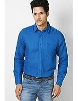 Aqua Blue Casual Linen Shirt Wrangler