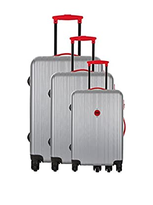 Bag Stone Set de 3 trolleys rígidos Milady Plata / Rojo