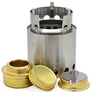 solostove(ソロ ストーブ)とソロ アルコールバーナー(バックアップアルコールストーブ)の2点セット、ウッドバーニングストーブ、キャンプストーブ、バックパッキングストーブ、サバイバルストーブ、非常用、防災用ストーブ