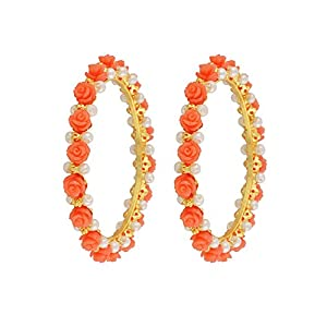Nisa Pearls Pink Synthetic Coral Bangles For Women
