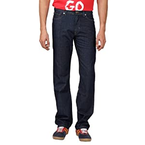 Dark Wash Straight Fit Solid Color Jeans