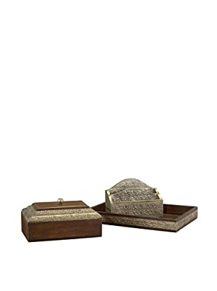 John-Richard Collection Hand-Carved Wooden Desk Accessories Set