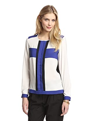 Tracy M Women's Zip Front Colorblock Top (Blue Combo)