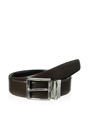 a.testoni Men's Box Calf Belt (Nero/Caffe)