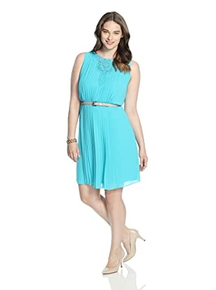 Jessica Simpson Women's Pleated Dress with Lace Inset (Bluebird)