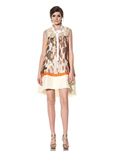 Chris Benz Women's Sleeveless Reef Print Combo Shirtdress with Beading (Yellow Multicolored)
