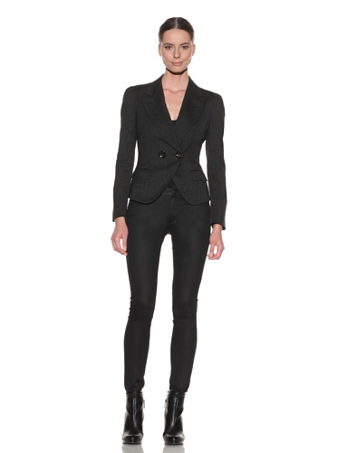 McQ by Alexander McQueen Women's Double Breasted Cut Away Jacket (Black)