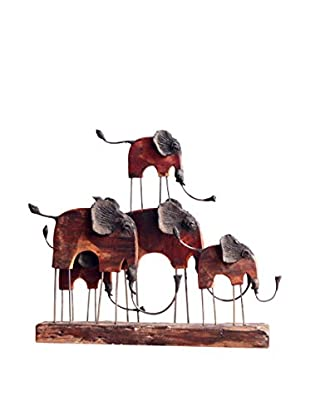 Asian Art Imports Medium Chin Elephant Family, Natural Wood