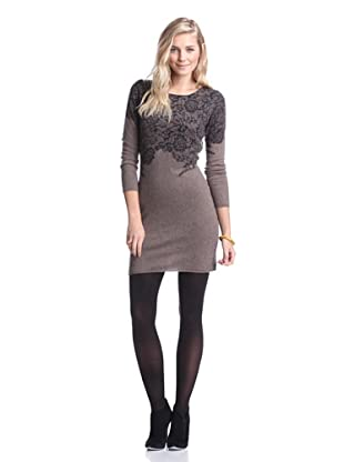 Kier & J Women's Lace Sweater Dress (Marron Chine/Black Lace)