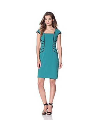 Chetta B Women's Cap Sleeve Dress with Piping (Emerald)