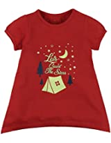 Oye Girls Round Neck Tee With Chest Print - Poppy Red (4-5 Y)