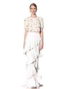 Naeem Khan Women's Short Sleeve Beaded Gown (White/Gold)