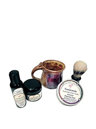 Yumscents Shaving Kit with Handcrafted Pottery Mug, Almond