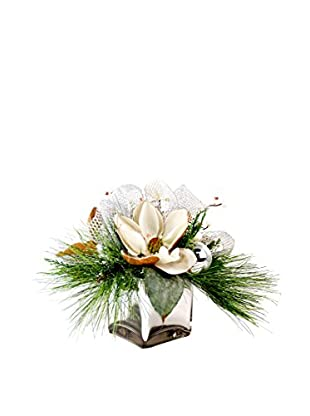 Creative Displays Magnolia Blossom And Pine Reflective Cube, Crème/Silver/Green