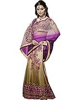 Sapphire Fashions Women's Purple Satin Sari