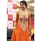 Bollywood Replica Deepika Padukone Net Suit In Orange Colour BS-3