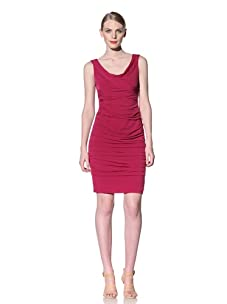 Muse Women's Sleeveless Ruched Glam Dress (Fuchsia)