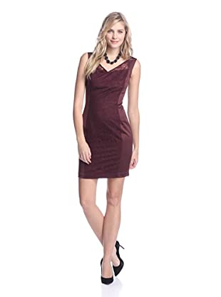 Marc New York Women's V-Neck Sheath with Mesh Overlay (Oxblood)