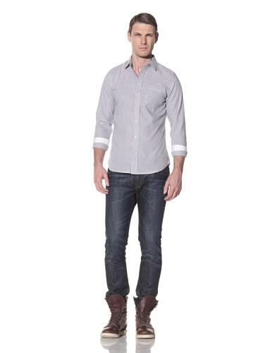 Descendant Of Thieves Men's Seersucker Stripe Long Sleeve Woven Shirt (Black)