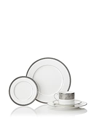 Mikasa 5-Piece Astor Place Place Setting, White/Off-White/Platinum