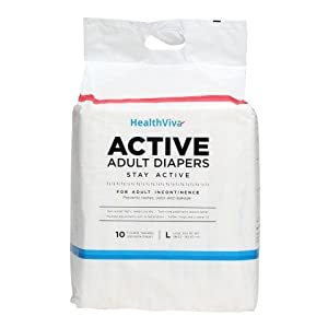 HealthViva Active Adult Diapers, Large 10