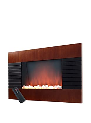 Even Glow Mahogany Wood Trim Electric Fireplace Heater With, Black, 22