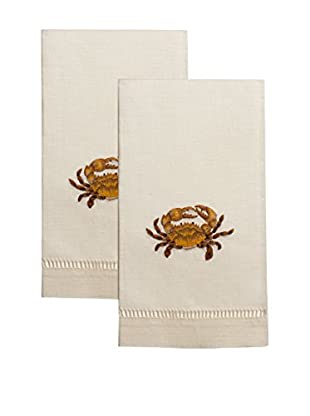 Henry Handwork Set of 2 Golden Crab Embroidered Hand Towels, Ivory
