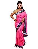 Diva Women's Crepe Saree (Neon Pink )