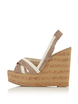 RAS Women's Two-Toned Cork Wedge (Taupe)