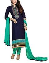 Clickedia Beautiful Cotton Embroidered Navy Blue & Green churidaar Salwaar Suit