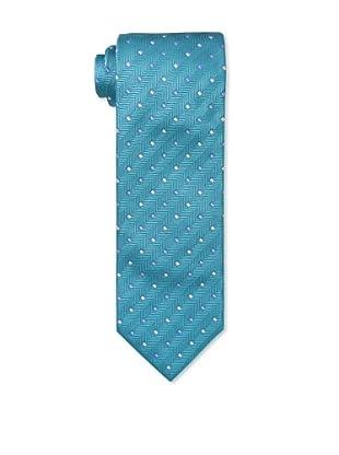 Massimo Bizzocchi Men's Herringbone Squares Tie, Turquoise