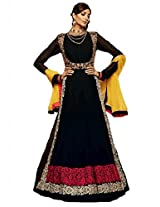 Dani Fashions Women's Georgette Semi Stitched Salwar Suit (DF401_Black)