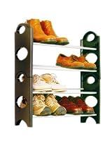 Shoe Rack 12 Pair Stackable Storage Rack 4 Tier Stand Shelf
