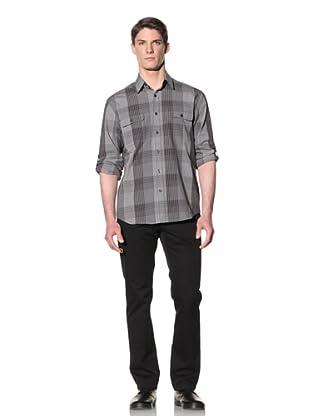 Perry Ellis Men's Gingham Plaid Shirt (Black)
