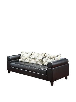 Armen Living Vasken Bonded Leather Sofa, Black