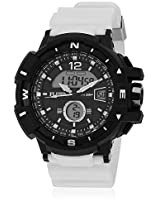 Dmf-009-Wh01 White/Black Analog & Digital Watch Flud