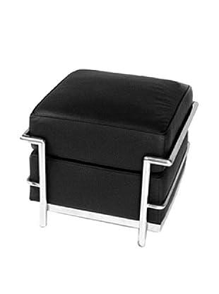 Manhattan Living Cube Leather Ottoman, Black