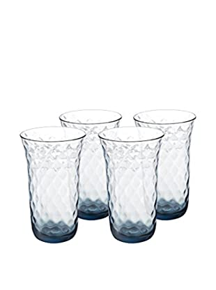 Padma Collection Optic Highball Glasses, Blue, Set of 4