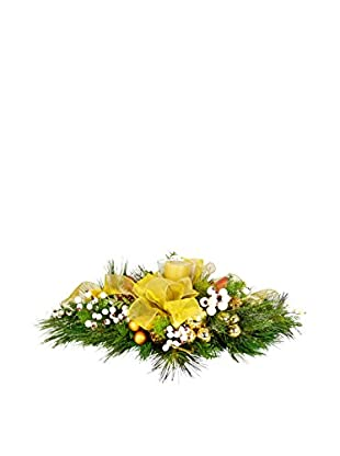 Creative Displays Bottle Brush Pine And Iced Berry Candle Centerpiece, Gold/White/Green