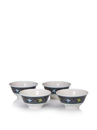 """Bongenre Set of 4 Natalya Susani 7"""" Bowls (Green/Aqua)"""