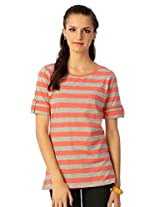Allen Solly Coral And Grey Striped Tee