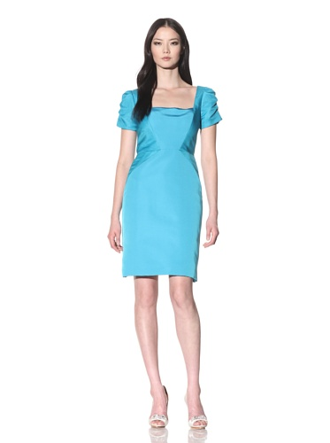 Bibhu Mohapatra Women's Short Sleeve Square Neck Fitted Dress (Turquoise)