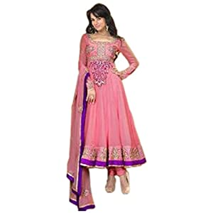 Sonal Chauhan Pink Georgette, Silk Santoon with Zari, Lace, Border, Hand work, Resham Work Unstitched Anarkali Salwar Kameez Suit