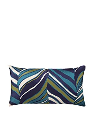 Trina Turk Tiger Leaf Embroidery Linen Pillow (Blue)