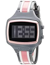 Activa By Invicta Unisex AA401-008 Black Digital Dial Charcoal Grey and White Polyurethane Watch