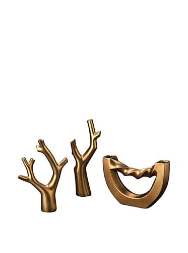 Set of 3 Contemporary Tabletop Accent Sculptures, Bronze
