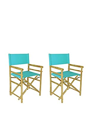ZEW, Inc. Set of 2 Bamboo Director Chairs, Aqua