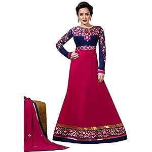 Neha Sharma Long Floor length Dark Blue & Pink Georgette Top With Santoon Bottom & Chiffon Dupatta Resham & Zari Embroidery Work Anarkali Salwar Suit